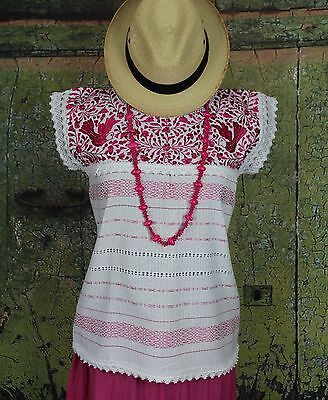 Pink & White Hand Embroidered Blouse Mitla Oaxaca Mexico, Hippie Cowgirl Boho