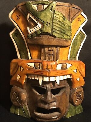 HAND CARVED WOOD ARTISTIC MAYAN MASK With Alligator Head Dress.