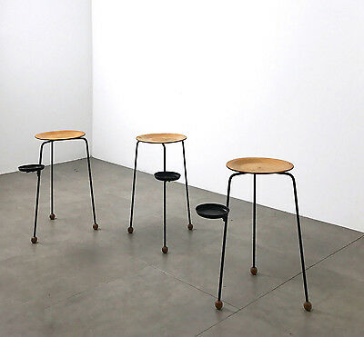 Set 3 Tony Paul Tempo Group Stacking Smokers Tables Stools Mid Century Modern