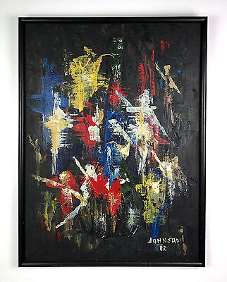31x24 Vintage Signed Abstract Original Painting Black Primary Mid Century Modern