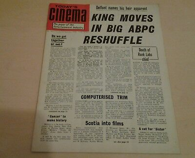 Today's Cinema. The Paper of the Entertainment Industry. Sept 22nd 1970.