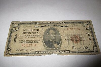 $5 1929 Hackensack New Jersey NJ National Currency Bank Note Bill Ch #13364 RARE