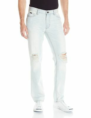 Calvin Klein NEW Blue Mens Size 38x30 Distressed Slim Skinny Jeans $89 095