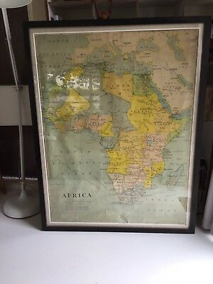 Antique Map Of Africa In Large Vintage Frame