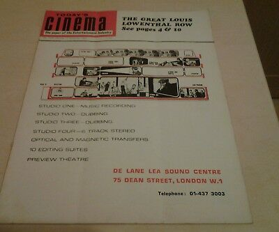 Today's Cinema. The Paper of the Entertainment Industry. Mon  17th  Nov.1969.