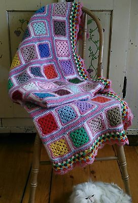 """VTG Crocheted Granny Square Throw Lap Blanket Handmade 56x60"""" Fun Candy Colours"""
