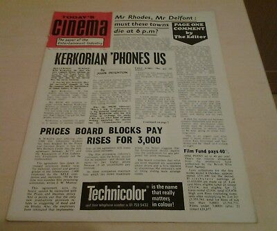 Today's Cinema. The Paper of the Entertainment Industry. Mon 10th Nov.1969.