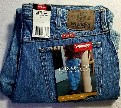 WRANGLER HERO 5 STAR Men's PREMIUM Denim Blue Jeans Relaxed Fit 36X30 BRAND NEW!