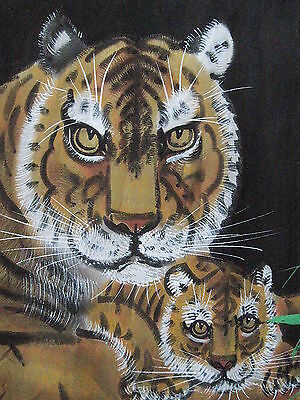 VINTAGE: Silk Painting~Tigeress with Cub~Japan 1930s*EVC