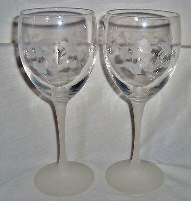"""Two Avon Hummingbird 8-1/4"""" Frosted Smooth Stem Water/Beverage Goblets"""