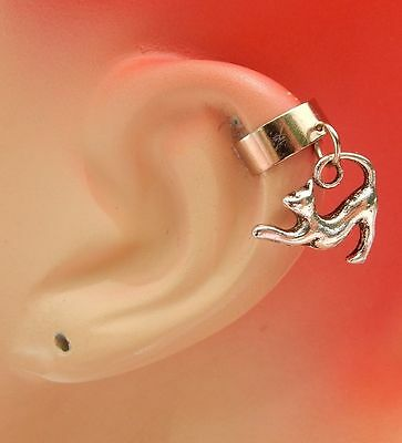Silver Cat Charm Drop/Dangle Ear Cuff Handmade Jewelry Accessories NEW Fashion
