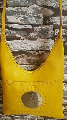 Ladies shoulder bag, Saffron coloured Real leather, Hand of Fatima motif (khamsa