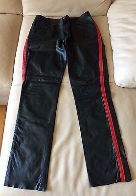 Men's Green Leather Jeans With Red Trim Side Striped Uniform Style Size 32