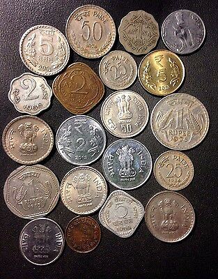 Old India Coin Lot - 1936-PRESENT - 20 Excellent Coins - Lot #814