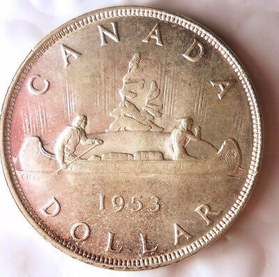 1953 CANADA DOLLAR - AU- RARE DATE - Excellent Silver Crown Coin - Lot #813