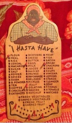 """Vintage Black Americana """"I Hasta Have"""" Grocery List Wooden Board With 10 Pegs"""