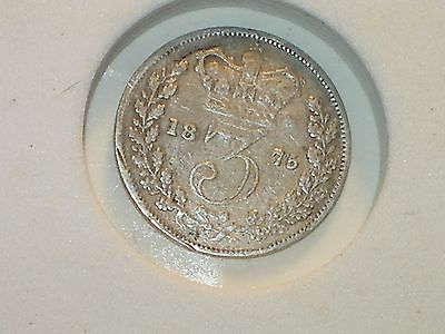1875 Great Britain Silver Threepence Queen Victoria circulated