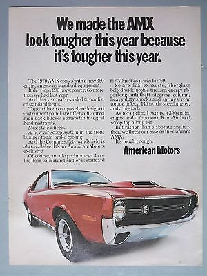 1970 AMC Magazine Ad We made the AMX look tougher this year..shows photo of car