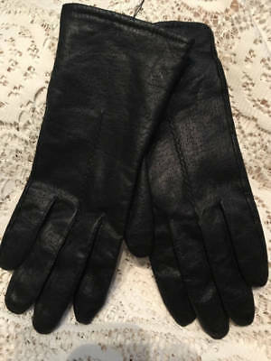 ~Fownes~Size.8 1/2 Black Leather Gloves~