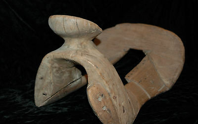Vintage Hand Carved Folk Art Horse Wood Saddle - Primitive Western Saddle