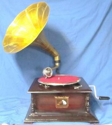 Collectable Working Hmv Wind Up Gramophone Brass Horn.