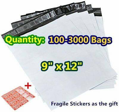 100 9x12 Poly Mailers Plastic Mailing Shipping Bags White Self Sealing Envelopes