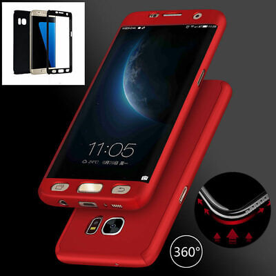 For Samsung 360° Slim Full Body Protective Case Hard Cover Skin + Tempered Glass
