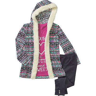 Self Esteem Girls 3 Piece Tank w/Sherpa Trimmed Hoodie Jacket & Leggings 4-5 XS
