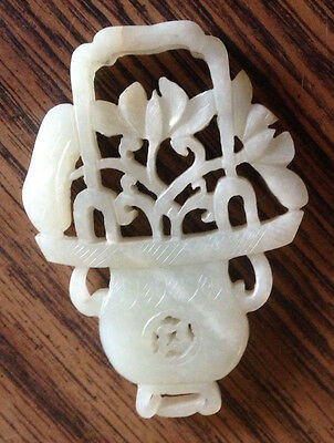estate vtg/antique white jade basket of flowers Netsuke/amulet/pendant