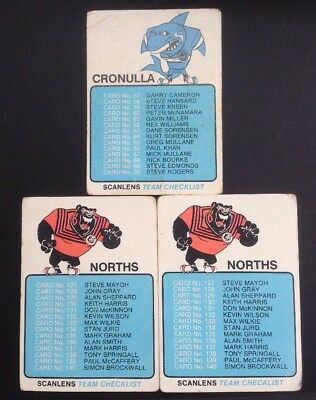 Scanlens 1981 Rugby League Card Checklists Cronulla & Norths. Unmarked.
