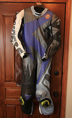 Dainese 1-piece Racing Leathers Armored Motorcycle Leather Suit + Back Protector
