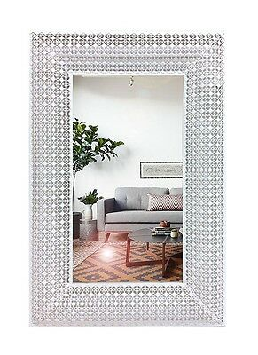 Mona Rectangle Mirror Wall Metal Decor Frame Hanging Art Glass White