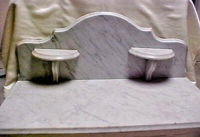 Victorian White/Gray stripe Marble Top for Washstand w/ Candle Shelf Backsplash