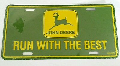 *new* John Deere Tractor License Plate - Run With The Best - With Logo
