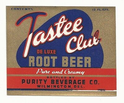 1930's Tastee Club De Luxe Root Beer Label - Wilmington, DE