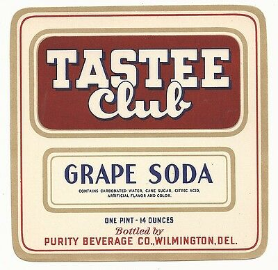 1930's Tastee Club Grape Soda Label - Wilmington, DE