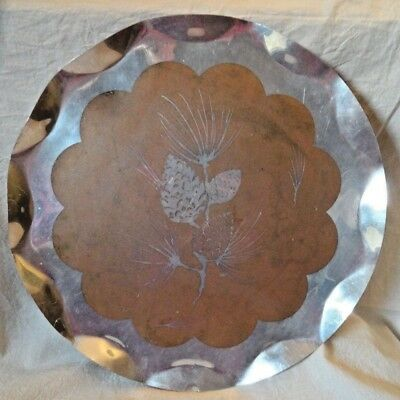 Vintage Aluminum Tray PINECONES Scalloped edges