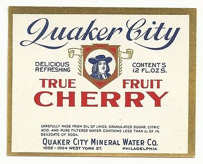 1930's Quaker City True Fruit Cherry Label - Philadelphia, PA - Error