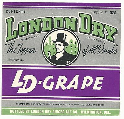 1940's London Dry LD-Grape Label - Wilmington, DE