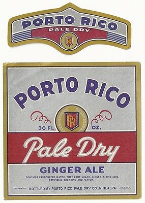 1940's Porto Rico Pale Dry Ginger Ale Label with Neck - Philadelphia, PA