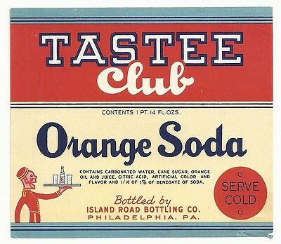 1930's Tastee Club Orange Soda Label - Philadelphia, PA
