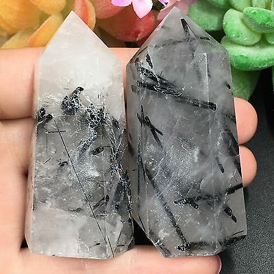 TOP-147g 2pcs Natural Black Tourmaline In Quartz Wand Point Reiki Crystal A9212
