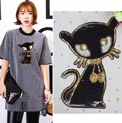 22CM Sequins Black Cat Cloth Applique Patch Clothing Embroidery Sewing Craft *
