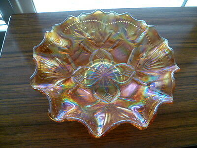 Crown Crystal Marigold Carnival Glass Bullrushes & Bush Orchids Bowl.