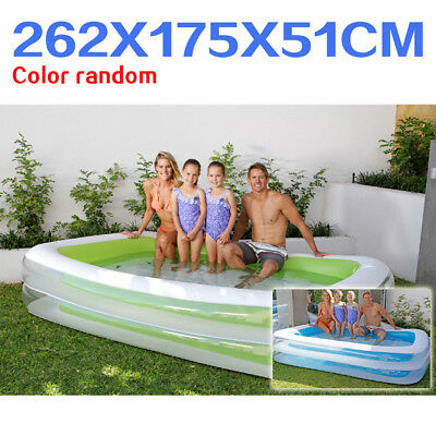 Air Inflatable Inflate Pool Toy Rectangular Family Pool Blue & Green