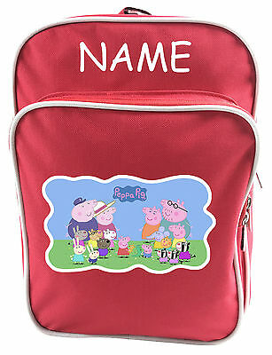 Littlies Kids Children Girls Boys Red Peppa Pig School Backpack Bag With Name-3