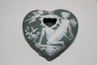 Vintage Green Jasperware Heart-Shaped Trinket Box-Cupid & Fairy