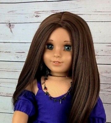 "10-11 Custom Doll Wig fit Blythe-American Girl-1/4 Size Doll ""Walnut Swirl"" bn1"