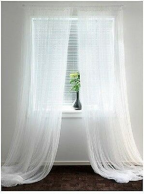 """IKEA Lill White Sheer Curtains - 2 Panels 98"""" x 110''"""