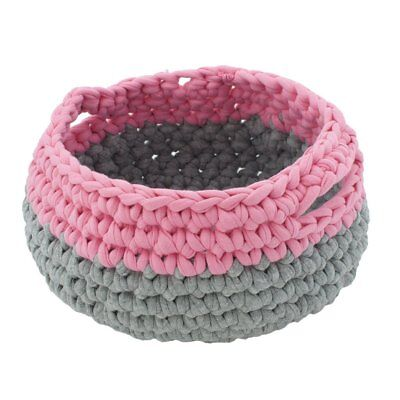 NEW CHILDRENS Large Crochet Basket - Pink & Grey